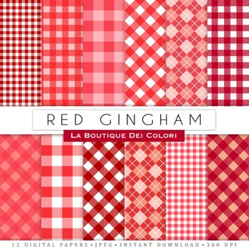 Red Gingham Table Cloth Digital Paper, scrapbook backgrounds