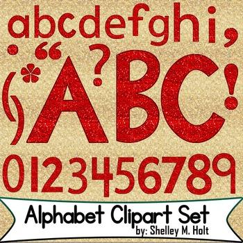 Red Glitter Alphabet Clipart Set by Shelley M Holt