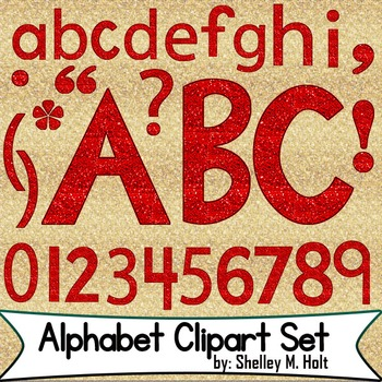 Red Glitter Alphabet Clipart Set by Shelley M Holt