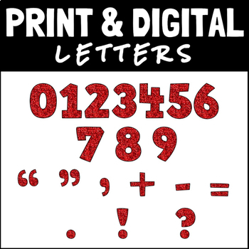 Red Glitter Block Letters and Numbers