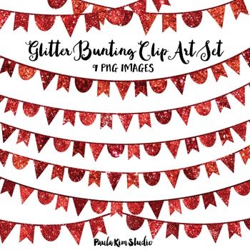 Red Glitter Bunting Clip Art