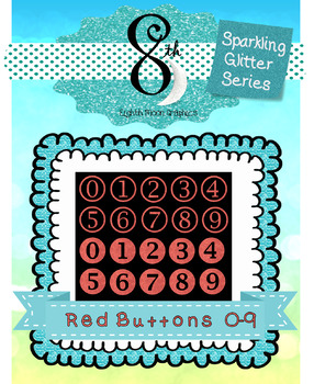 Red Glitter Button Numbers 0 - 9
