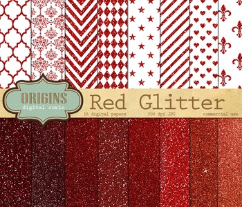 Red Glitter Digital Paper for Christmas or Valentines, Scrapbooking