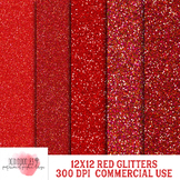Red Glitter Digital Papers, 12x12 Inch, 300 dpi, Commercial Use