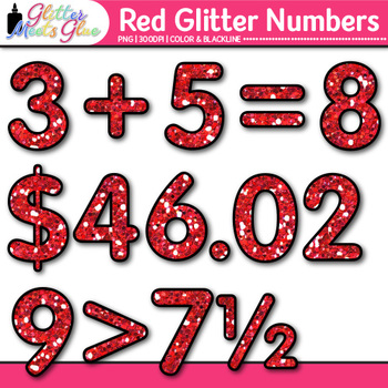 Red Glitter Math Numbers Clip Art {Great for Classroom Decor & Resources}