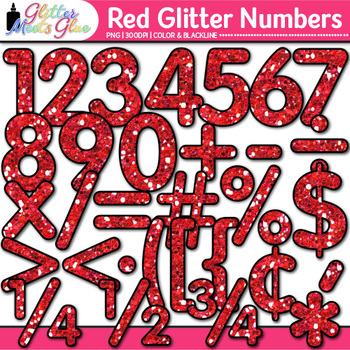 Red Glitter Math Numbers Clip Art | Glitter Numbers for Classroom Decor