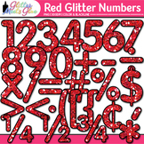 Red Glitter Math Numbers Clip Art {Great for Classroom Dec