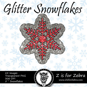 Red Glitter Snowflakes Clip art - Commercial Use OK! { Z is for Zebra }