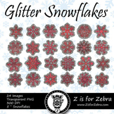 Red Glitter Snowflakes Clip art - Commercial Use OK! { Z i