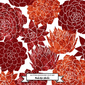 Red Glitter Succulent Flower Clip Art