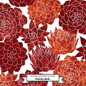 Red Glitter Succulent Flower Clip Art