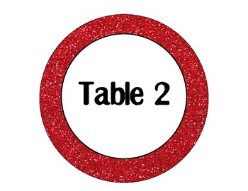 Red Glitter Table Signs