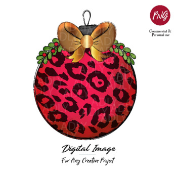 Red Gold Christmas Ornament Ball sublimation with Leopard pattern,