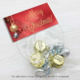 Red & Gold Ornament Treat Bag Toppers, Printable Christmas Party Favors