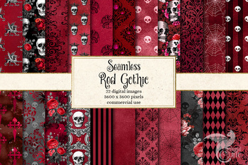 Red Gothic Digital Paper, seamless red and black Halloween patterns