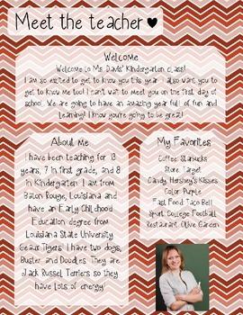 Red Gradient Chevron Meet The Teacher Template **Editable**