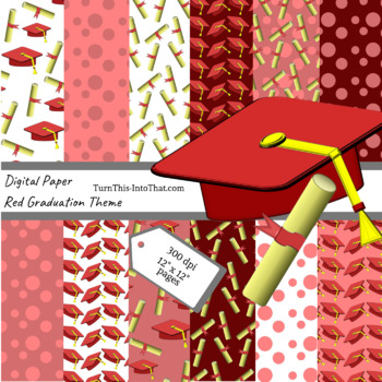 Red Graduation Digital Papers - Scrapbooking Paper - Scrapbook Clip Art