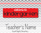Red & Gray Chevron Welcome Sign