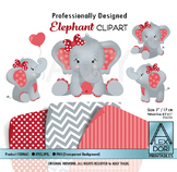 Red Gray Elephant Girl Clipart