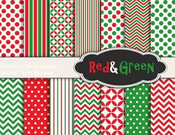 Red Green Christmas Digital Paper Christmas Scrapbook Paper Dots Chevron 0057