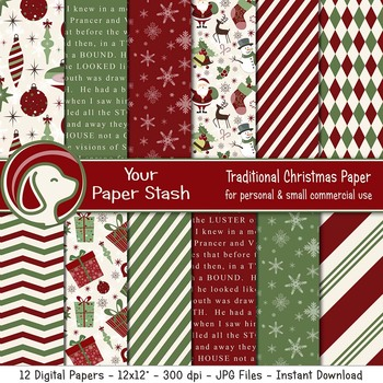 Red & Green Christmas Digital Scrapbook Papers & Backgrounds