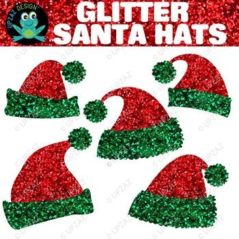Red Green Glitter Santa Hats {Upzaz Digital Clipart}
