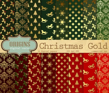 Red Green and Gold Christmas Digital Scrapbook Paper Backgrounds