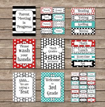 Red Grey Aqua Black Polka Dots + Stripes Editable Classroom Decor Package