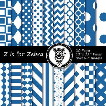 Blue/White  dual tone Digital Paper Pack 1 - CU ok { ZisforZebra}