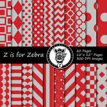 Red / Grey  dual tone Digital Paper Pack 1 - CU ok { ZisforZebra}