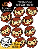 Red Haired Girl Ten Emotions Clip Art Bundle in Color and B&W
