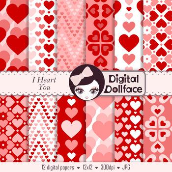 Red Heart Digital Paper / Valentine Heart Background Paper