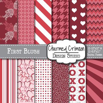 Red Heart Valentine Digital Paper 1011