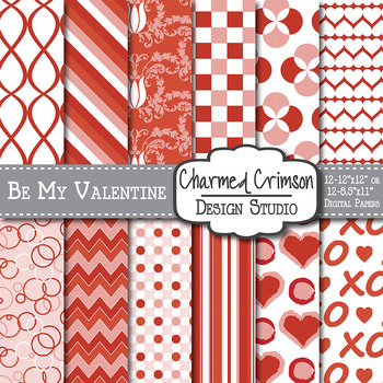 Red Heart Valentine Digital Paper 1013