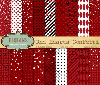 Red Hearts Confetti Valentines Day Digital Paper Backgrounds