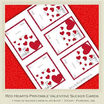 Red Hearts Printable Valentine Sucker Cards d1
