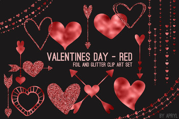 Red Hearts Valentine's Day Clip Art 74 PNG Glitter Foil Arrows Strands Swags