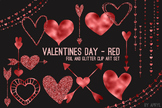Red Hearts Valentine's Day Clip Art 74 PNG Glitter Foil Ar