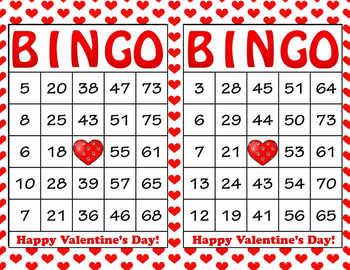 Red Hearts Valentine's Day Bingo - 100 Printable Bingo Car