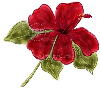 Red Hibiscus, Hibiscus clip art Printable Tracey Gurley Designs