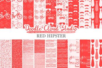 Red Hipster digital paper, Scarlet Vintage Retro patterns, Father's day