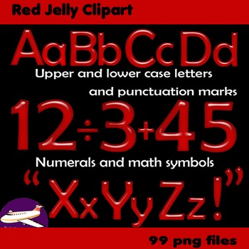 Alphabet Clip Art Red Jelly + Numerals, Maths Symbols & Punctuation Marks