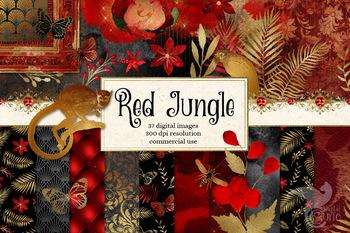 Red Jungle Digital Scrapbook Kit, clip art, patterns and backgrounds