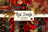 Red Jungle Digital Scrapbook Kit, clip art, patterns and b