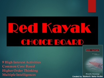 Red Kayak Choice Board Tic Tac Toe Novel Activities Menu Assessment Project