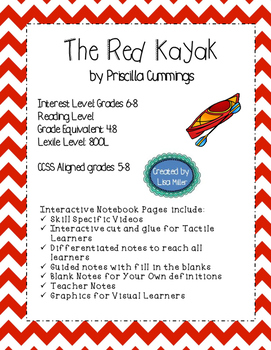 Red Kayak Novel Unit with Differentiated/Interactive Notes aligned to CCSS