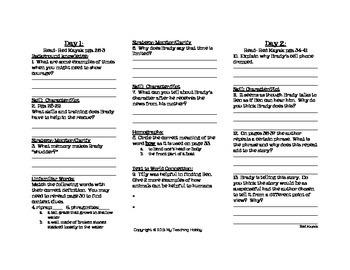 Red Kayak Trifold Worksheet (5th Grade Reading Street 2011 Edition)