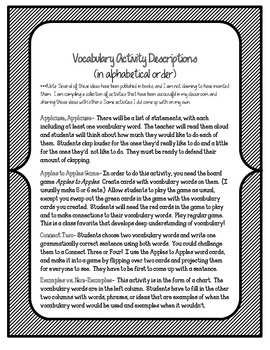 Red Kayak Vocabulary Activities and Games- 5th Grade, Unit 1
