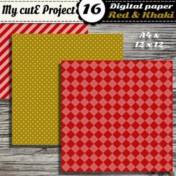 "Red & Khaki DIGITAL PAPER - Scrapbooking- A4 & 12x12"" - Stripes..."