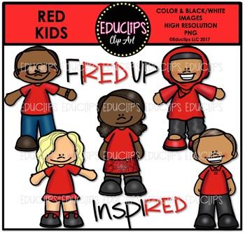 Red Kids Clipart Bundle {Educlips Clipart}